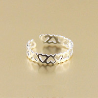 Sterling Silver Hollow Heart-shaped Ring