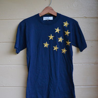 Vintage 1980s Blue with Gold Stars T Shirt Nautical Patriotic Shirt The La Costa Spa California Shirt