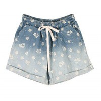 Flower Print Denim Shorts in Tie Dye