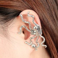 octopus ear clip earrings