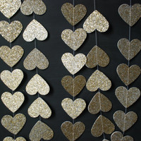 6' Glittered Heart Garland