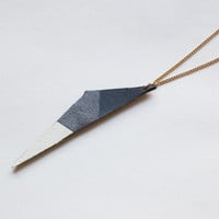 leather colorblocked triangle necklace in navy & silver by QUOLIAL