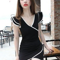 Cross Flounced Dress Black S011651