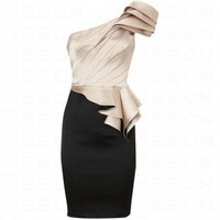 Bqueen One Shoulder Signature Dress Apricot and Black K085E - Evening Dresses - Special Occasion Dresses - Apparel