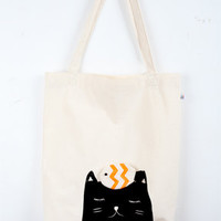 Cat & Fish Tote ( Includes Mr. Fish Brooch)