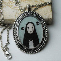 Large, Antique Silver Cameo Pendant of No Face from Spirited Away