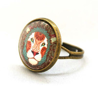 10% SALE Ring Leo Lion Jewelry Astrological Signs and Symbols Circle Shape Special Jewelry