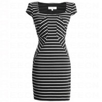 Bqueen Knit Striped Dress Black FK006H - Celebrity Dresses - Apparel