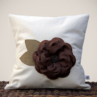 "16"" Cream PILLOW COVER Chocolate Brown Felt Flower by JillianReneDecor"