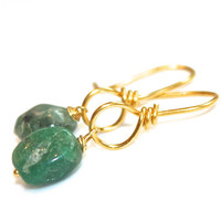Rustic Emerald Earrings Everyday Jewelry  Gold Vermeil Drop Earrings May Birthstone Gemstone Jewelry