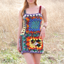 Crochet Mini Dress Colorful Hippie Boho Granny Squares &amp; Stripes OOAK Womens XS S M