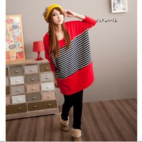 Brief Style Stripes Loose Long Sleeve T-shirt Jester Red