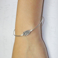 Cute Owl Bangle Bracelet, Silver Owl Jewelry, Trendy Fashion Owl Charm Bracelet, Silver Little Owl Bangle Bracelet