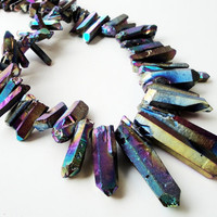 Mystic Blue Purple Titanium Quartz Crystal Spikes Points Drilled Briolettes 12 Pieces Beads