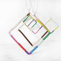 Long Square pendant, colorful geometric chain