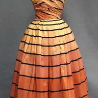 The Coolest Iridescent Taffeta Ball Gown w/ Stripes VINTAGEOUS VINTAGE CLOTHING
