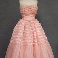 Ruffled Pink &amp; White Chiffon &amp; Lace Strapless Prom Dress VINTAGEOUS VINTAGE CLOTHING