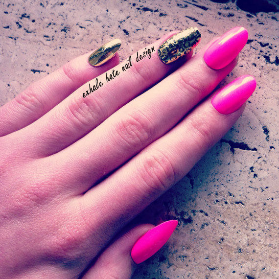 Barbie pink with gold leopard accent oval from exhale hate nail