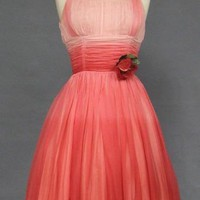Terrific Pink Ombre Chiffon Cocktail Dress w/ Rose VINTAGEOUS VINTAGE CLOTHING