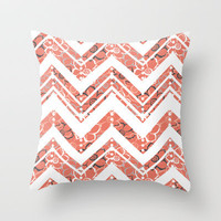 Bouquet Chevron Throw Pillow by Heather Dutton