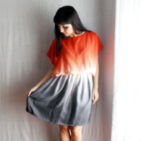 Ombrè tunic dress in orangegrey and white  One of by AliceCloset