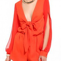 Tie Front Romper in Tangerine