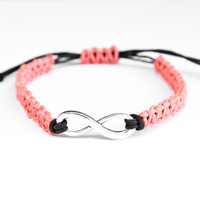 Infinity Hemp Bracelet Coral and Black Friendship