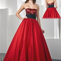 A-line Strapless Beaded Tulle and Taffeta Prom Dress PD0533