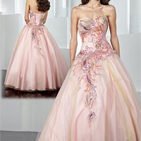 A-line Sweetheart Applique Tulle and Taffeta Prom Dress PD0543