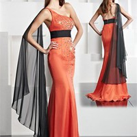 One Shoulder Mermaid Empire Waist Beading Prom Dress PD0547