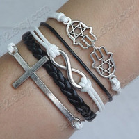 Infinity, cross &amp; Hand of Fatima bracelet --Antique Silver Bracelet--Wax Cords and Leather Bracelet-- Friendship Gift-Personalized Bracelet