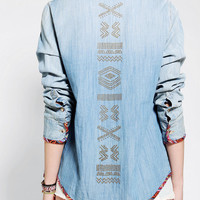 Staring At Stars Blanket-Trim Chambray Shirt