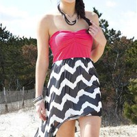 chevron print high low dress with solid sweetheart bodice - 1000047290 - debshops.com