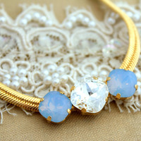 Elegant Rhinestone blue opal and white gold chic necklace - 14k gold plated necklace with real Swarovski Rhinestone