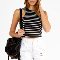 Wide Ruled Crop Top $26
