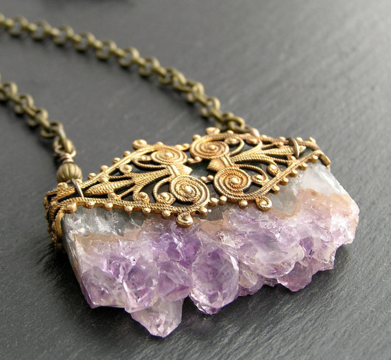 Amethyst Druzy Gemstone Necklace