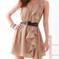 SASSY CHIFFON MINI TAN DRESS