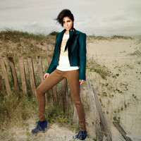 Emerald Cropped jacket, Pirate Green felted jacket, moto bike inspired, retro cool by texturable