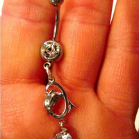 Navel Belly Button Ring Silver Tone Barbell with Silver Tone and Clear Crystal Dolphin