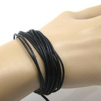 Hemp bracelet  made of black ropes SH1002 by feihong2012 on Etsy