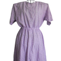 Vintage Summer Dress Lavendar Eyelet Short Sleeve with Elastic Waistband - Large
