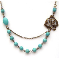 Antiqued Brass Flower Green Turquoise Necklace by gemandmetal