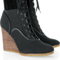 Chloé | Mountain canvas and suede wedge boots | NET-A-PORTER.COM