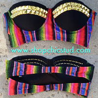 Studded Bikini Top - Swimwear - Southwest Stripes - Gold, Silver, or Black Studs -