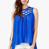A'GACI LATTICE SHOULDER SLEEVELESS TOP - TOPS