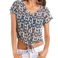 Printed Tie-Front Button-Down Tee: Charlotte Russe