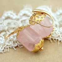 Gold and Pink Rose Quartz gemstone bridal earrings - 14k Gold filled and gorgeous pink gemstone