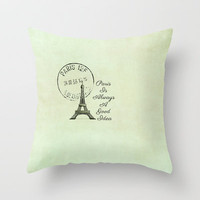 White Paris is Always a Good Idea Audrey Hepburn  Throw Pillow by secretgardenphotography [Nicola]