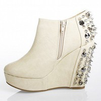 Spike-Heeled Wedge Booties | Boots Booties | HEARTBREAKER-JCD | NUDE | Bare Feet Shoes
