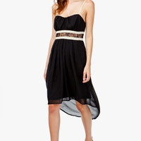 A'GACI LACE INSET CONTRAST HI-LOW DRESS - DRESSES